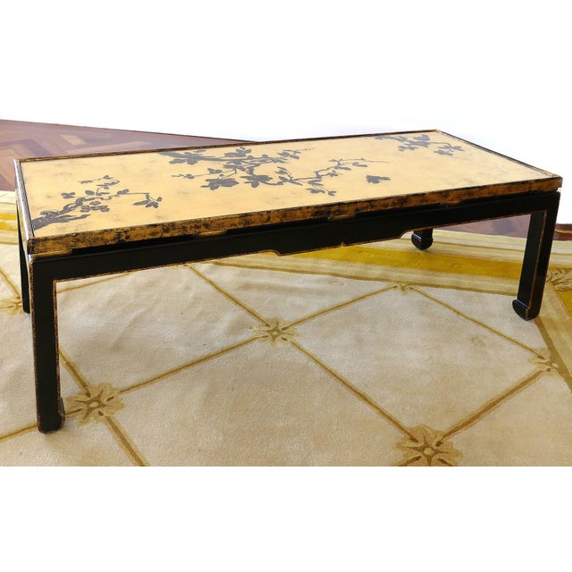 Japanese Coffee Table.Vintage Mid Century Japanese Gold Leaf Cherry Blossom Coffee Table