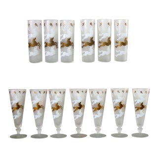 MCM Cavalcade by Libbey Galloping Horse Cocktail Glasses Gold White Pilsner Tom Collins For Sale