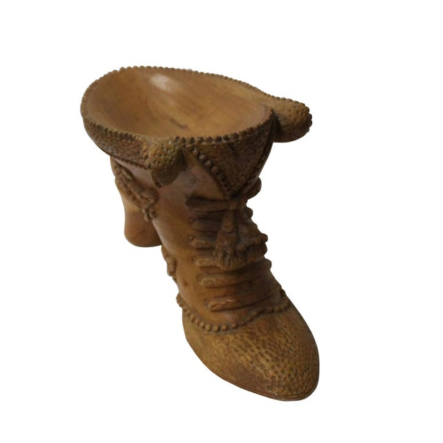 2010s Chinese Oriental Wood Carved Heel Shape Display Figure For Sale - Image 5 of 7