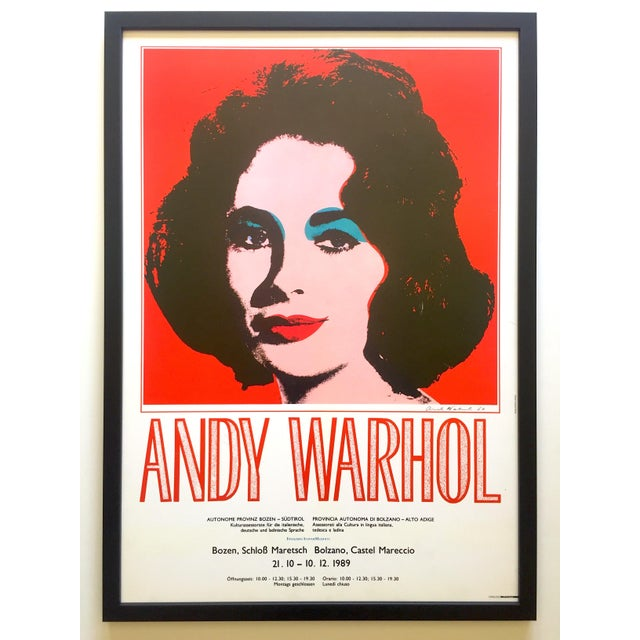 "Andy Warhol Rare Vintage 1989 Iconic Lithograph Print Framed Italian Exhibition Large Pop Art Poster "" Liz "" 1964 For Sale - Image 13 of 13"