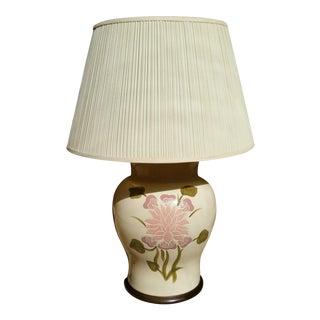 Crackle Porcelain Lamp With Floral Design