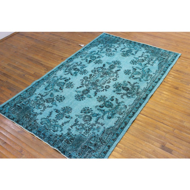 "Aqua Over-Dyed Turkish Oushak Rug - 5'7"" x 9'1"" - Image 5 of 6"