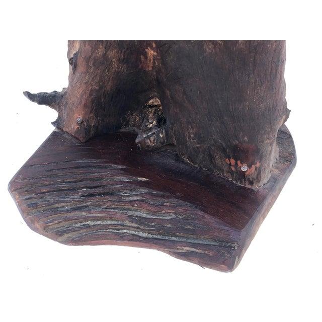 Brown Vintage Primitive Live Edge Pedestal Table For Sale - Image 8 of 13