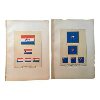 19th Century Civil War Era Military Flags Lithographs - a Pair For Sale
