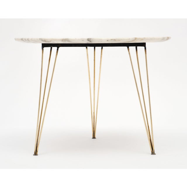 White Vintage Mid-Century Italian Marble Top Table For Sale - Image 8 of 10