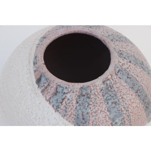 Mid-Century Modern Scandinavian Style Round Pottery Vase With Stripes For Sale - Image 3 of 10