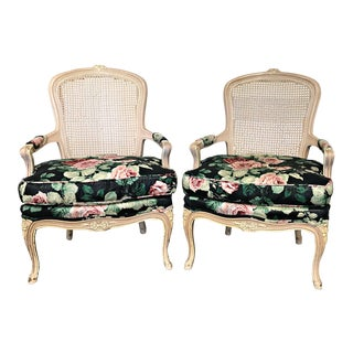 Vintage Caneback Bergere Accent Chairs PAIR