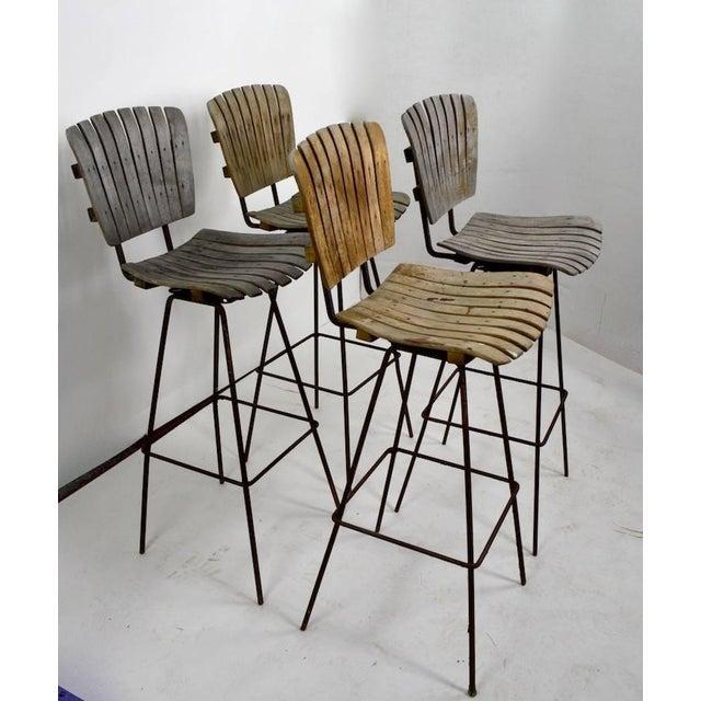 Arthur Umanoff Vintage Umanoff Weathered Wood Stools- Set of 4 For Sale - Image 4 of 11