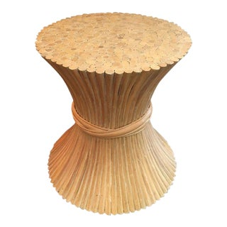 Mid-Century McGuire Style Bamboo Wheat Sheaf Dining Table Base For Sale