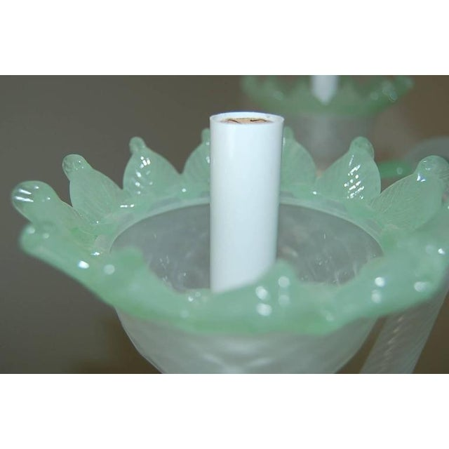 White Chandelier Vintage Murano Glass Opaline White Green For Sale - Image 8 of 11