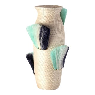 Fanned Out Large Tall Vase Cream & Turquoise Fans For Sale
