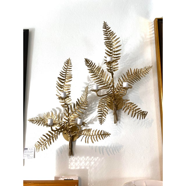 Hollywood Regency Mid-Century Sconces Fern Motif - a Set of 2 For Sale - Image 3 of 13