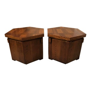 1970s Brutalist Lane Hexagonal Oak Storage End Tables - a Pair For Sale