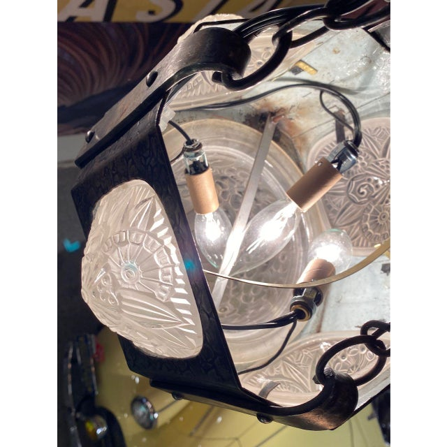 French Iron Art Deco Hanging light with Muller Style Multiple Glass For Sale In San Francisco - Image 6 of 10