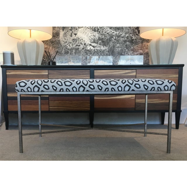 Luxury and high durability Kravet Couture Velvet upholstered, in Chic Tortoise/Anthracite (made in India), bench with Iron...