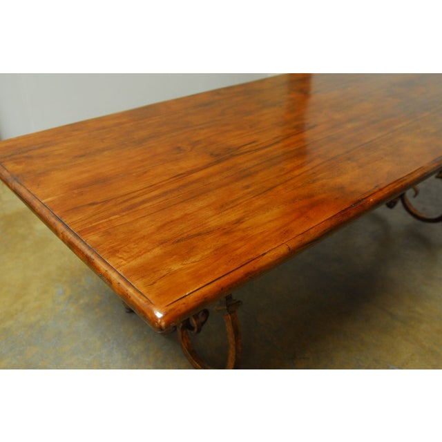 Spanish Colonial Trestle Table With Wrought Iron - Image 2 of 10