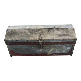 Vintage Metal and Wood Toolbox For Sale