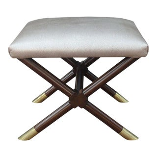 Vintage X-Base Ottoman in Faux Shagreen Leather For Sale