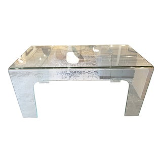 Modern Solid Clear Glass Desk For Sale