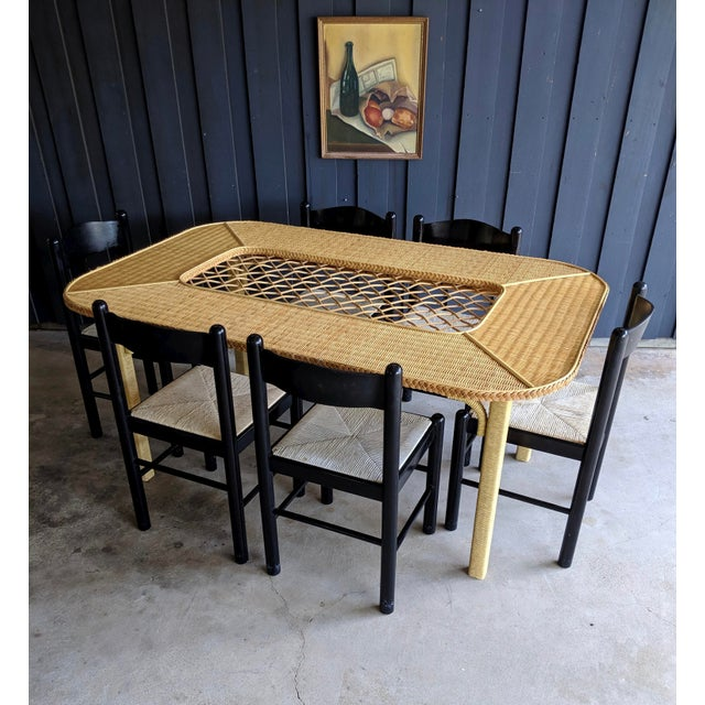 Paint Henry Link Rattan Wicker Chippendale Dining Table For Sale - Image 7 of 12