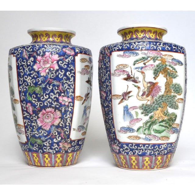 Asian Antique Chinese Late Qing Dynasty Famille Rose Vase Pair For Sale - Image 3 of 7