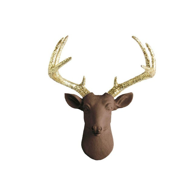 Wall Charmers Chocolate & Gold Faux Taxidermy Mini Deer Head Mount For Sale - Image 4 of 4
