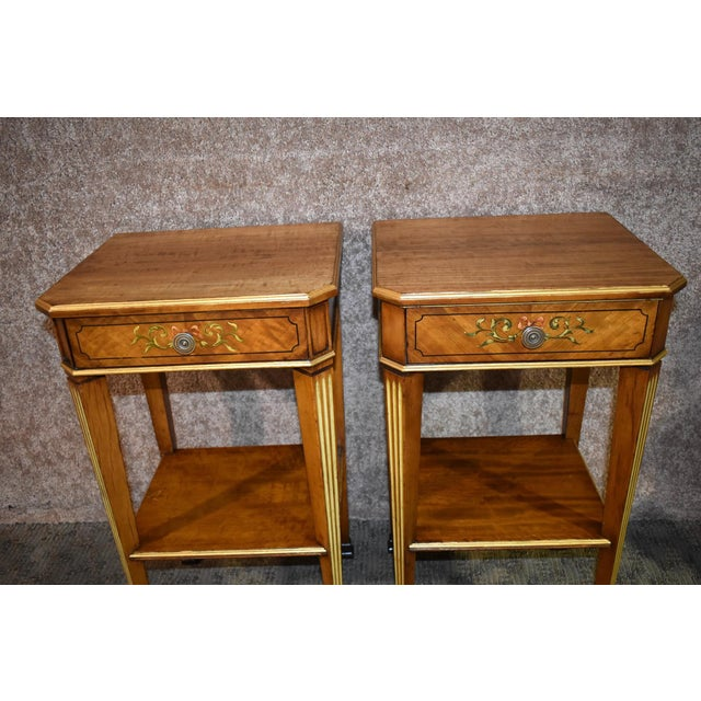 French Antique French Satinwood Side Tables with Painted Designs - a Pair For Sale - Image 3 of 13