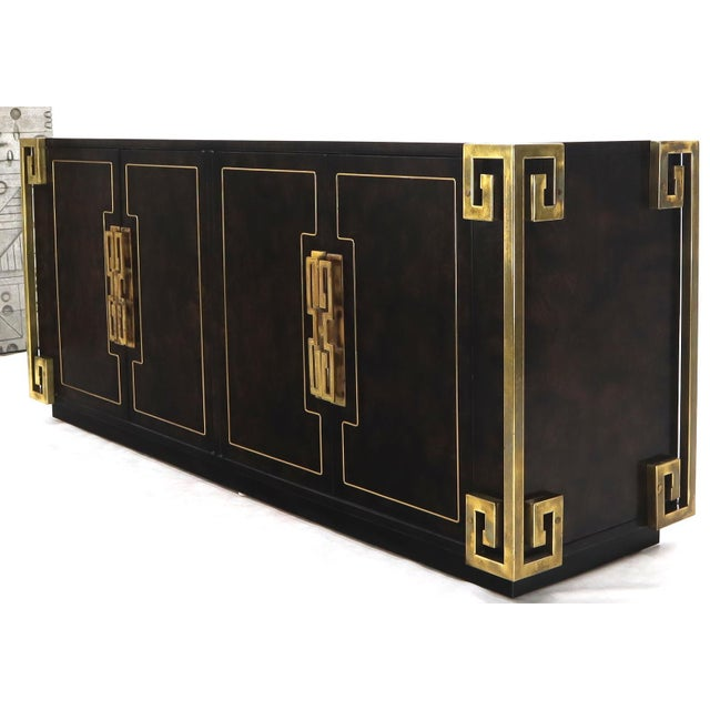 Mid 20th Century Mastercraft Burl Wood and Brass Greek Key Ornament Long Sideboard Credenza For Sale - Image 5 of 13