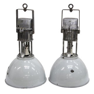 1960s Vintage Industrial Enameled Dome Hanging Lamps- A Pair For Sale