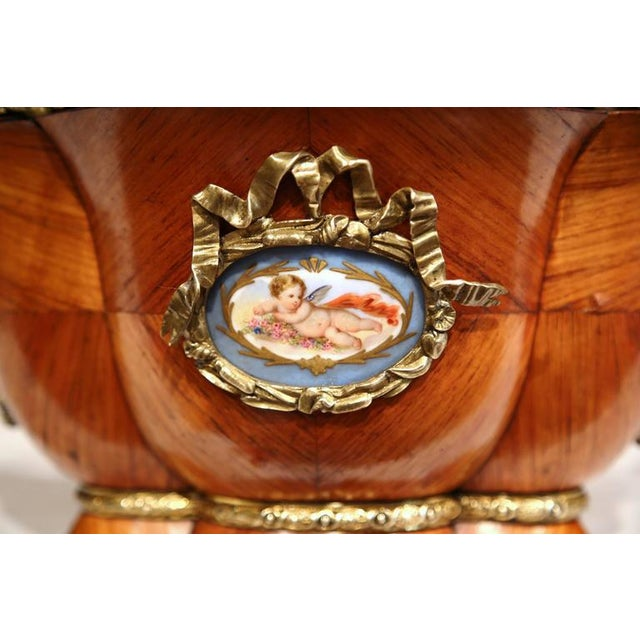 Louis XVI Early 19th Century French Tulipwood & Bronze Jardiniere For Sale - Image 3 of 10