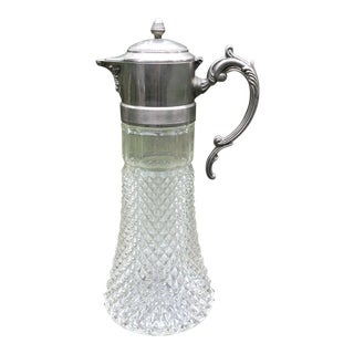 1930s Art Deco Cut Glass Pewter Pitcher For Sale