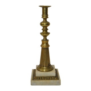 19th Century Brass & Marble Candlestick
