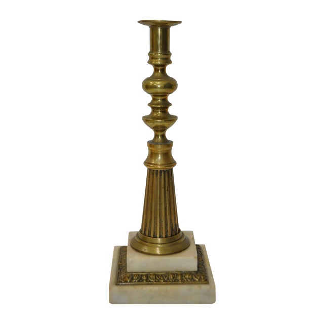 19th Century Brass & Marble Candlestick For Sale