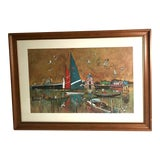 Image of Mid-Century Sailboats in Harbor Framed Print For Sale