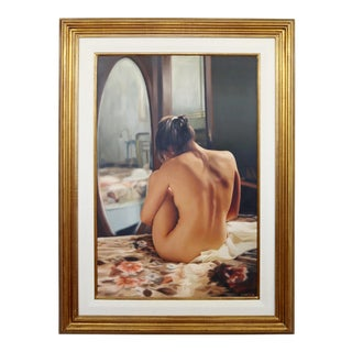 Contemporary Framed Nude Oil Painting on Canvas Signed Marcelo Zampetti 1990s For Sale