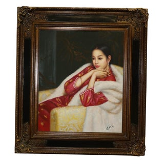 Chinese Woman Oil Painting on Canvas For Sale