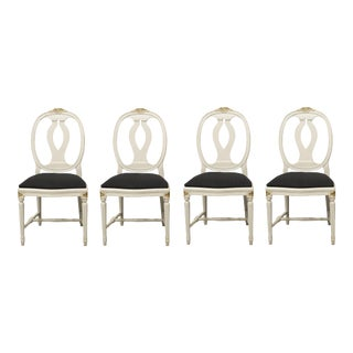 1970s Vintage Gustavian Rose Chairs - Set of 4 For Sale