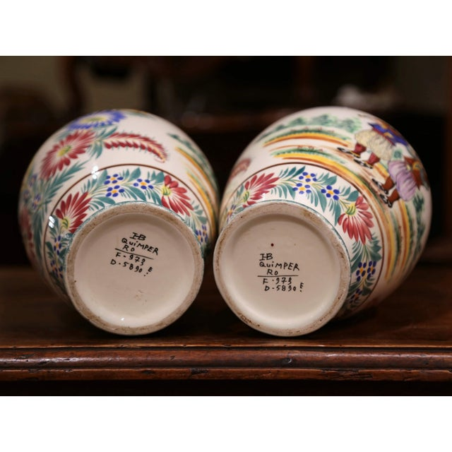 Pair of Early 20th Century French Hand Painted Vases Signed Hb Quimper For Sale - Image 9 of 12