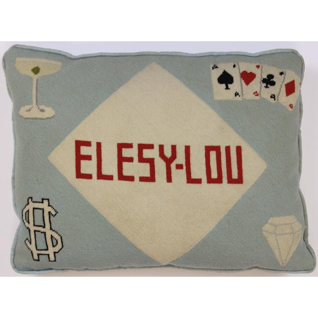 "Fab Tiffany Blue ""Playing Cards & Martini Glass"" Petit-Needlepoint Pillow - Image 2 of 5"