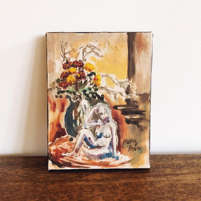 1970s Female Nude Petite Oil Painting For Sale - Image 5 of 5