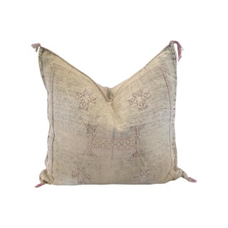 Boho Chic White and Pink Cactus Silk Pillow For Sale