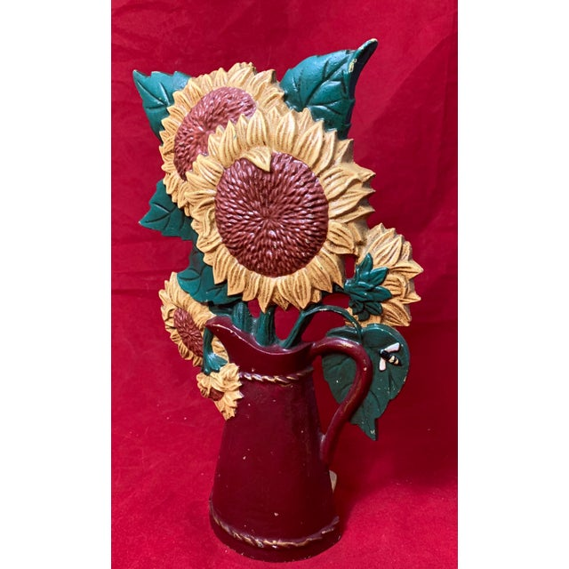 Mid 20th Century Vintage Mid Century Hand Painted Sunflowers Cast Iron Door Stop For Sale - Image 5 of 12