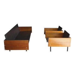 Japanese Architectural Sofa & Lounge Chairs, Set of 3 For Sale