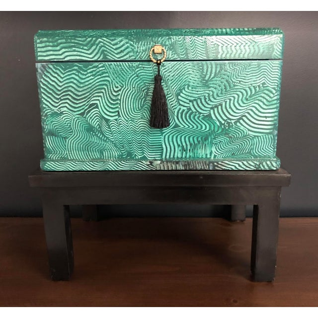 Stunning accessory in emerald green and black, this hand painted faux Malachite box is a great addition to any room. This...