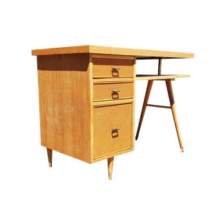 Mid-Century Modern California Blond Wood Desk For Sale
