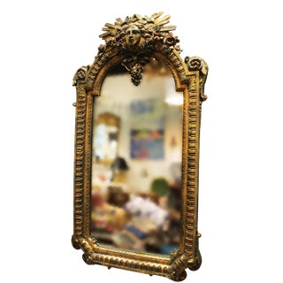 Carved Sun Wall Mirror For Sale