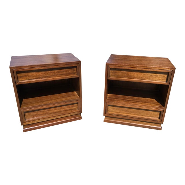 1950s Mid Century Modern Triangle Brand Mahogany Nightstands - a Pair For Sale
