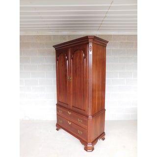 Ethan Allen Georgian Court Cherry Chippendale Style Linen Press Armoire Cabinet Preview