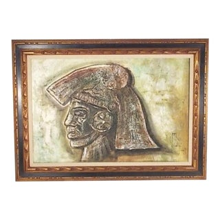 Artist Signed Illegible Impasto Oil Painting of a Warrior For Sale