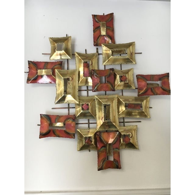 A Jere or Silas Seandel mid-century brutalist style copper and brass metal wall sculpture. It has a signature on the front...